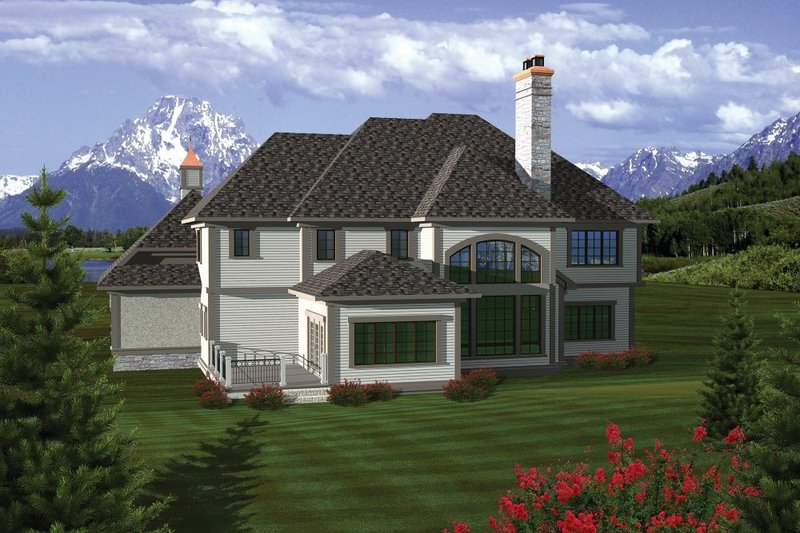 European Exterior - Rear Elevation Plan #70-1090 - Houseplans.com