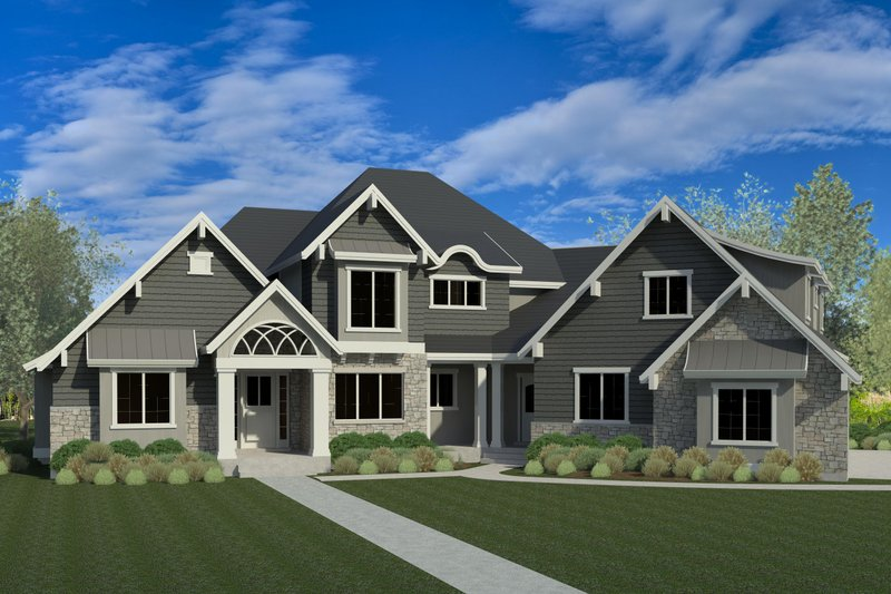 Traditional Style House Plan - 7 Beds 5.5 Baths 6683 Sq/Ft Plan #920-81 Exterior - Front Elevation