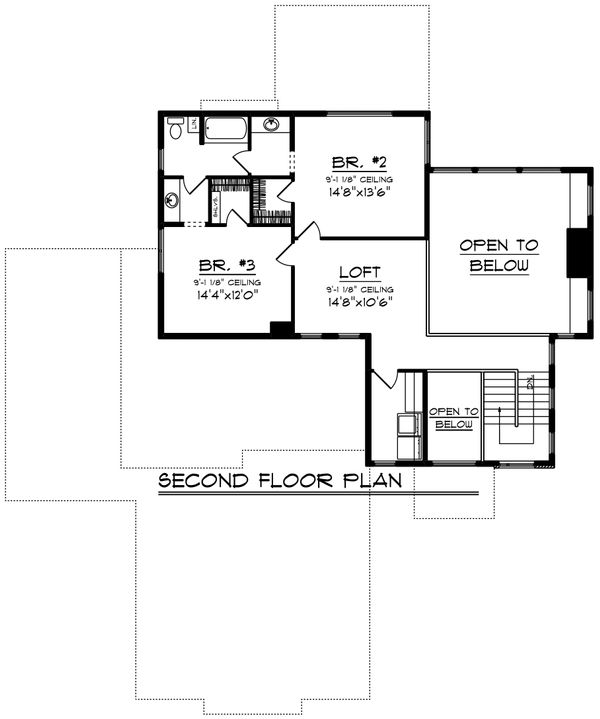 Contemporary Floor Plan - Upper Floor Plan Plan #70-1496