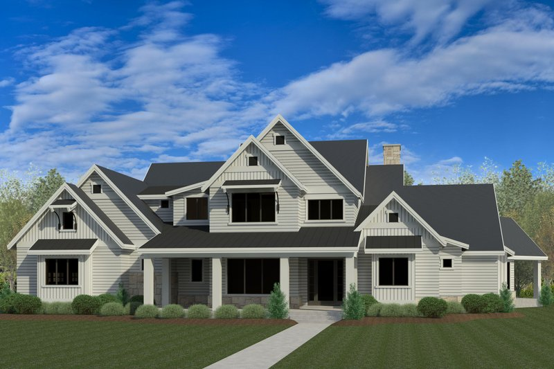 Craftsman Style House Plan - 6 Beds 7.5 Baths 7834 Sq/Ft Plan #920-96 Exterior - Front Elevation