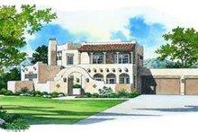 House Blueprint - Adobe / Southwestern Exterior - Front Elevation Plan #72-158
