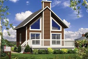Cabin Exterior - Front Elevation Plan #25-4274