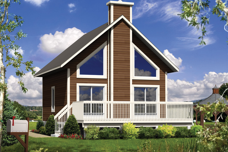 Cabin Style House Plan - 1 Beds 1 Baths 808 Sq/Ft Plan #25-4274