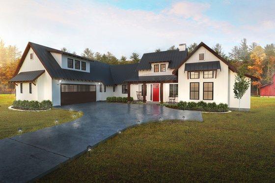 House Plan Design - Farmhouse Exterior - Front Elevation Plan #80-219
