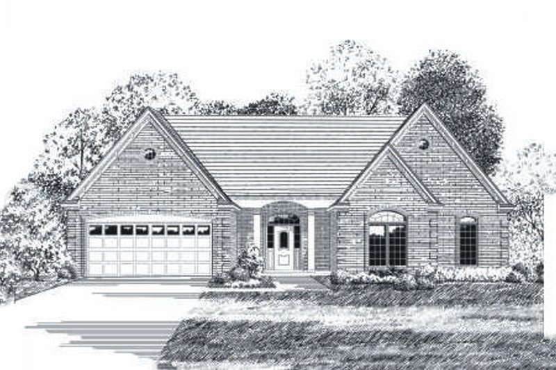 Traditional Style House Plan - 3 Beds 2 Baths 1437 Sq/Ft Plan #424-90 Exterior - Front Elevation