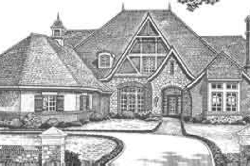 European Style House Plan - 5 Beds 4.5 Baths 6028 Sq/Ft Plan #310-351 Exterior - Front Elevation