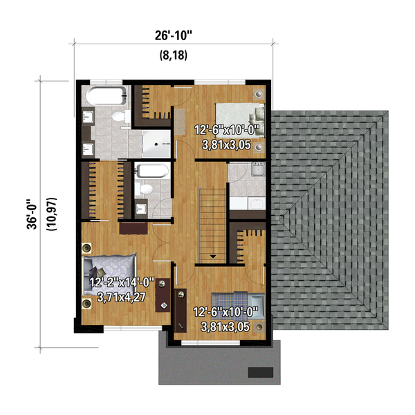 Dream House Plan - Contemporary Floor Plan - Upper Floor Plan #25-4875