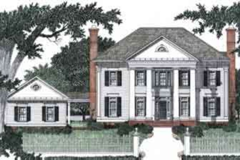 Southern Style House Plan - 4 Beds 4.5 Baths 3435 Sq/Ft Plan #129-159 Exterior - Front Elevation