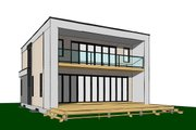 Contemporary Style House Plan - 3 Beds 2.5 Baths 2063 Sq/Ft Plan #23-2646 Exterior - Rear Elevation