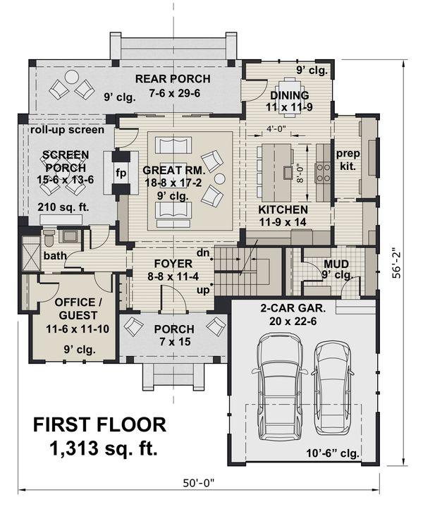 Dream House Plan - Farmhouse Floor Plan - Main Floor Plan #51-1148