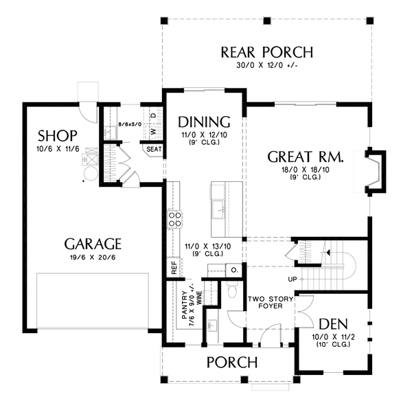 Contemporary Floor Plan - Main Floor Plan #48-986
