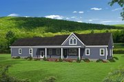 Country Style House Plan - 2 Beds 2 Baths 1365 Sq/Ft Plan #932-170 Exterior - Rear Elevation