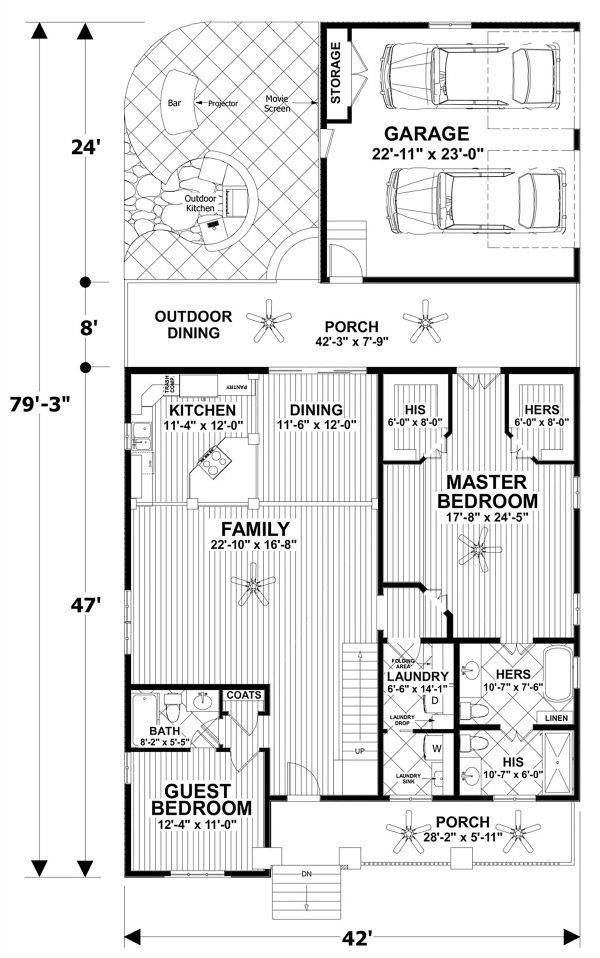 Home Plan - Craftsman Floor Plan - Main Floor Plan #56-720