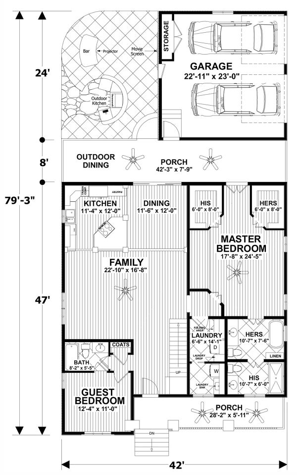 Dream House Plan - Craftsman Floor Plan - Main Floor Plan #56-720