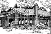 Ranch Style House Plan - 3 Beds 2 Baths 1538 Sq/Ft Plan #320-387 Exterior - Rear Elevation