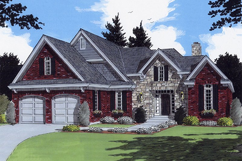 Home Plan - Traditional style home, elevation