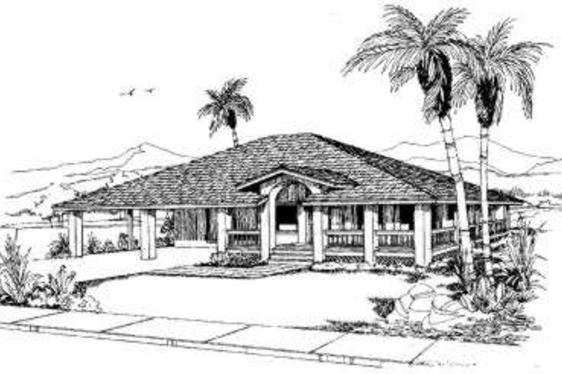 Adobe / Southwestern Style House Plan - 2 Beds 2 Baths 1111 Sq/Ft Plan #303-321 Exterior - Front Elevation