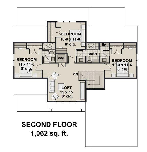 Farmhouse Floor Plan - Upper Floor Plan #51-1147
