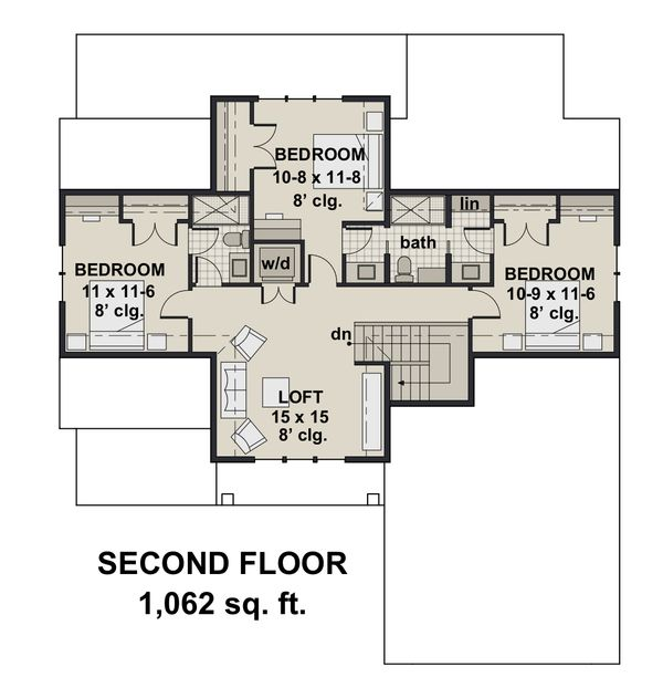 Farmhouse Floor Plan - Upper Floor Plan Plan #51-1147