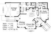 Modern Style House Plan - 4 Beds 3.5 Baths 2747 Sq/Ft Plan #509-1 Floor Plan - Main Floor Plan
