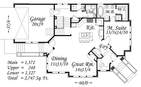 Modern Floor Plan - Main Floor Plan Plan #509-1