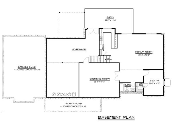 Craftsman Floor Plan - Lower Floor Plan #1064-72