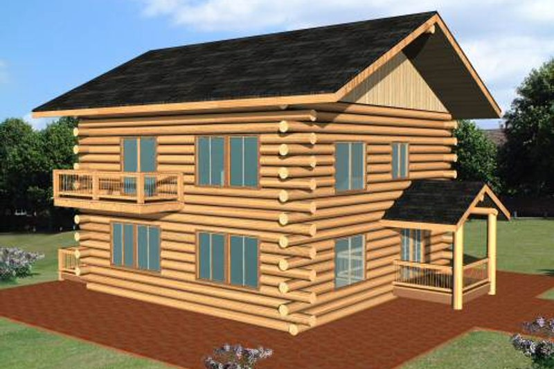 Dream House Plan - Log Exterior - Front Elevation Plan #117-552