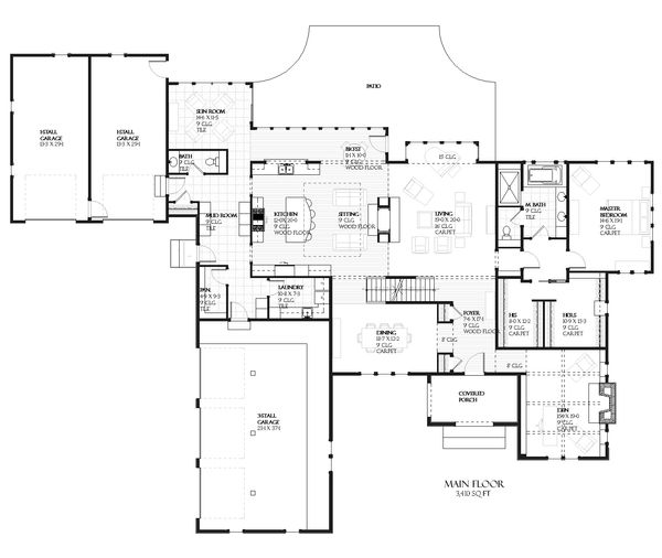 European house plan, floor plan