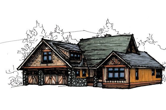 Craftsman Exterior - Front Elevation Plan #921-21