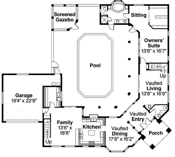 Mediterranean Floor Plan - Main Floor Plan Plan #124-234