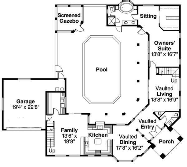 House Plan Design - Mediterranean Floor Plan - Main Floor Plan #124-234