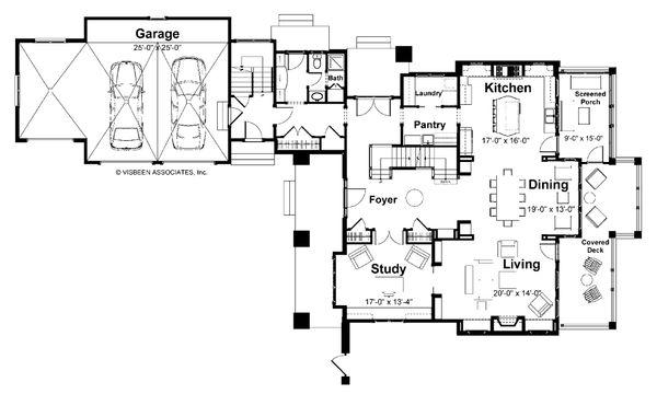 Craftsman Floor Plan - Main Floor Plan Plan #928-7