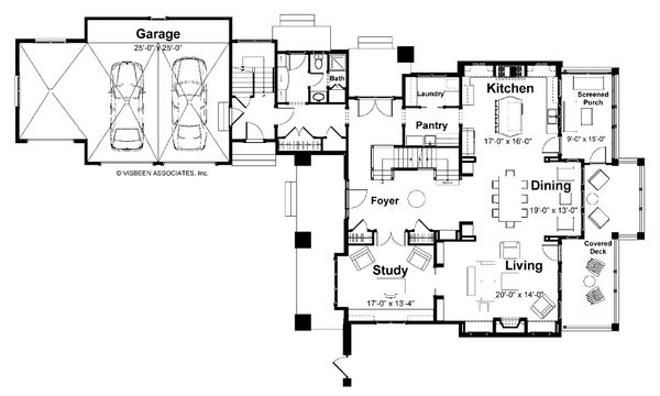 Craftsman Floor Plan - Main Floor Plan Plan #928-7