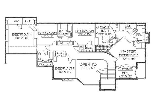 House Plan Design - Traditional Floor Plan - Upper Floor Plan #5-438