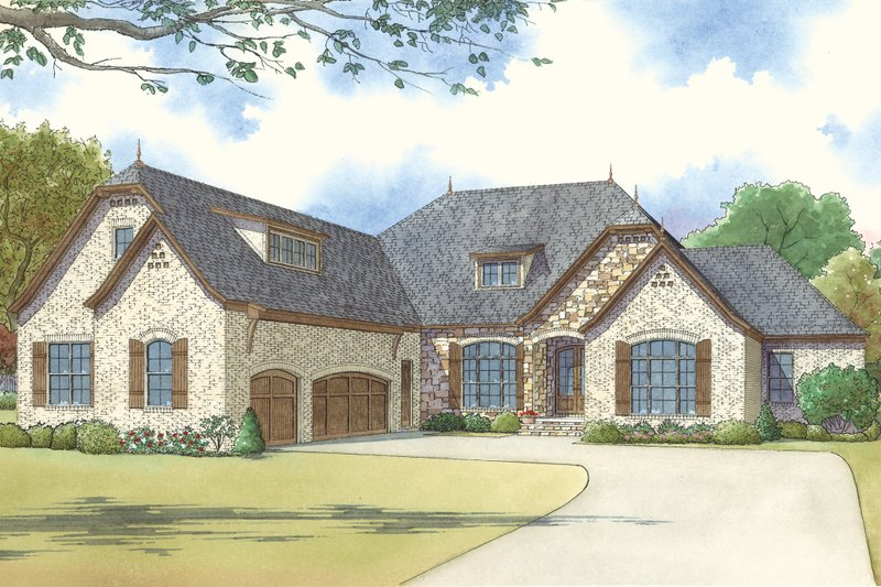 European Style House Plan - 4 Beds 4 Baths 2849 Sq/Ft Plan #923-16 Exterior - Front Elevation