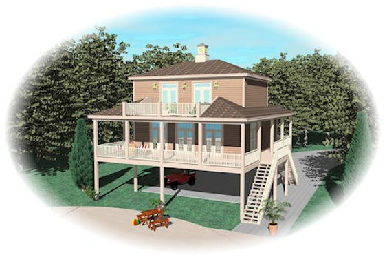 Beach Exterior - Front Elevation Plan #81-13774