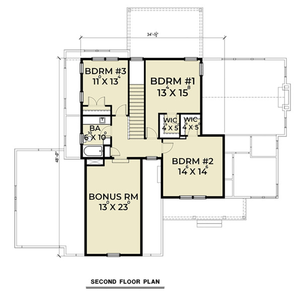 Craftsman Floor Plan - Upper Floor Plan Plan #1070-35