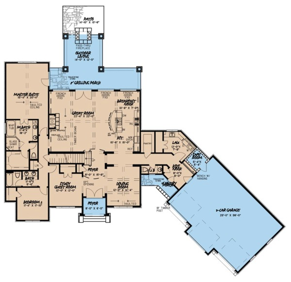 European Style House Plan - 4 Beds 3.5 Baths 3119 Sq/Ft Plan #923-66 Floor Plan - Main Floor Plan