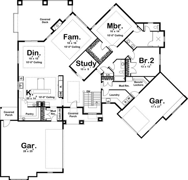 Craftsman Style House Plan - 2 Beds 2 Baths 2590 Sq/Ft Plan #455-213 Floor Plan - Main Floor Plan