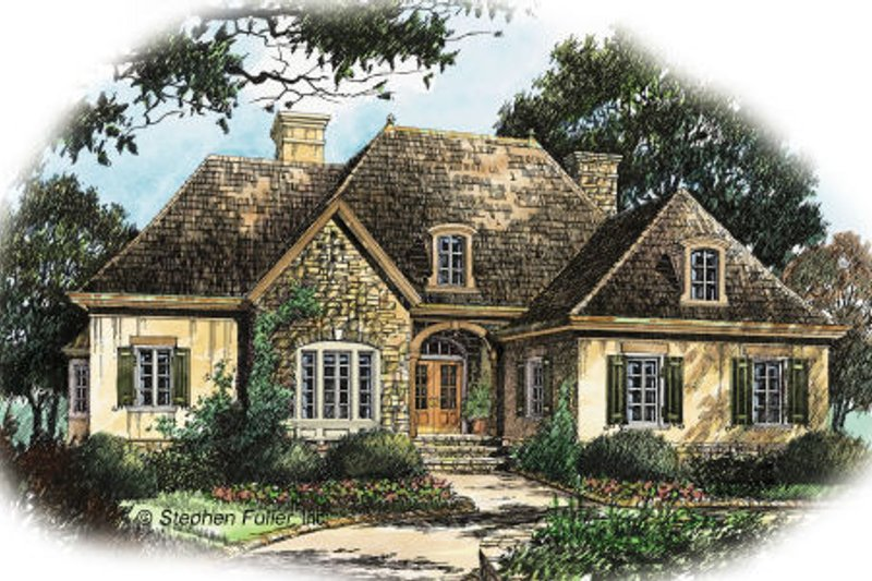 European Style House Plan - 3 Beds 2.5 Baths 2598 Sq/Ft Plan #429-37 Exterior - Front Elevation