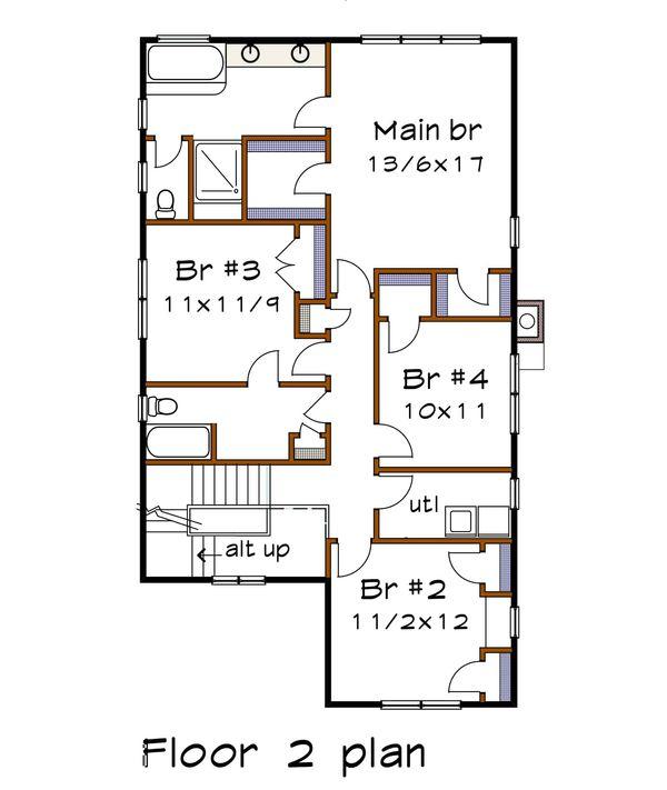 Country Floor Plan - Upper Floor Plan Plan #79-279