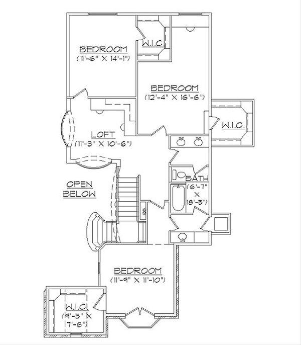 House Plan Design - European Floor Plan - Upper Floor Plan #5-467