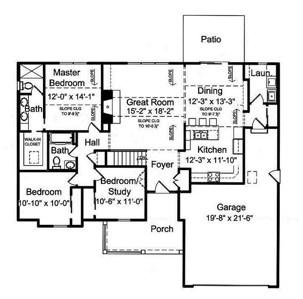 Cottage Floor Plan - Main Floor Plan Plan #46-410