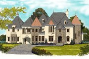 European Style House Plan - 6 Beds 6.5 Baths 6140 Sq/Ft Plan #413-865 Exterior - Front Elevation