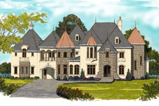 European Exterior - Front Elevation Plan #413-865