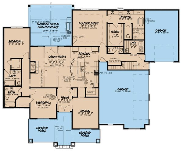Country Floor Plan - Main Floor Plan Plan #923-36