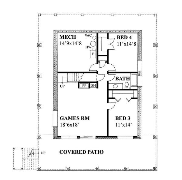 Cottage Floor Plan - Lower Floor Plan Plan #118-173