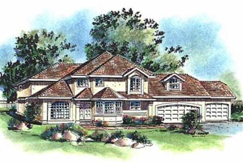 House Blueprint - European Exterior - Front Elevation Plan #18-220