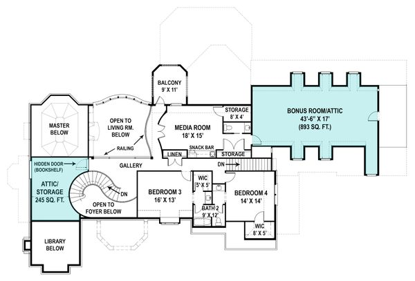 European Floor Plan - Upper Floor Plan Plan #119-429