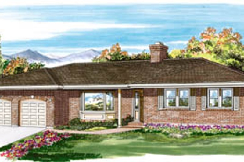 Ranch Style House Plan - 3 Beds 2 Baths 1686 Sq/Ft Plan #47-472 Exterior - Front Elevation